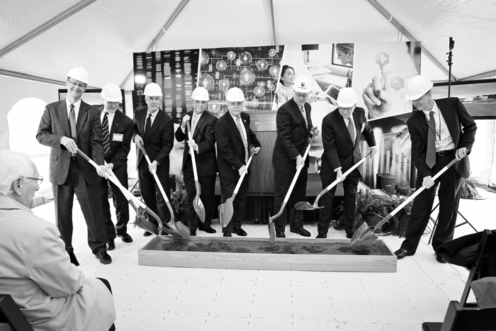 Rod Dykehouse, far left, and members of the Penn State Hersey break ground on the new data center. The project is expected to be completed in April 2016.